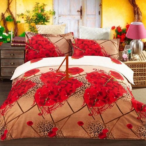 Nice painting 4 pcs bedding set bedsheet + duvet cover + pillowcase home textile